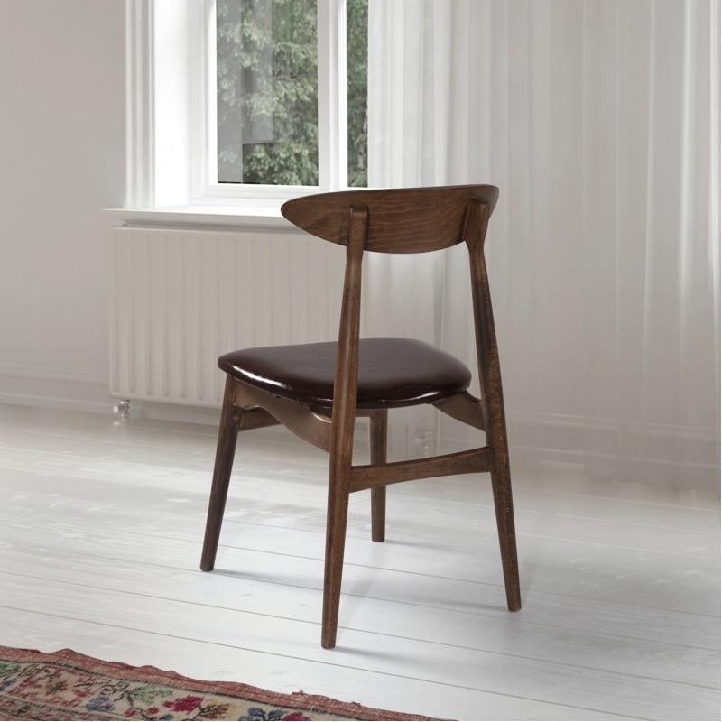 Vita Sandalye Ceviz - Kahve Deri